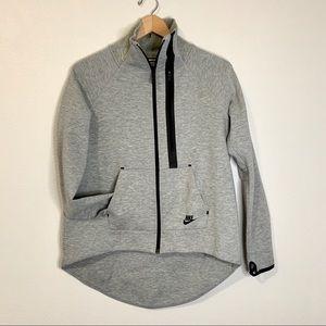 Nike high low grey neon green zip up jacket